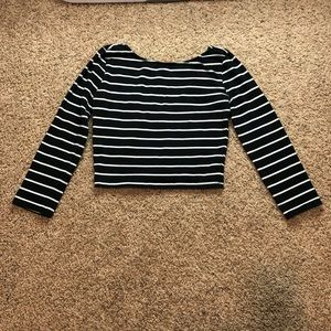 Forever 21 Striped Crop Top 3/4 Sleeves Size M